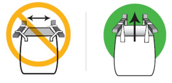 フレコンバッグ吊り上げ時のフォークリフト爪の間隔